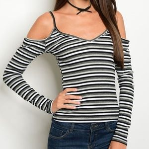 Tops - Gray Striped Cold Shoulder Long Sleeve Top